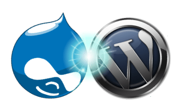 Drupal v WordPress logos