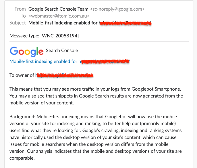 Google Mobile First Indexing notification