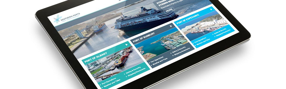 Southern Ports website on tablet